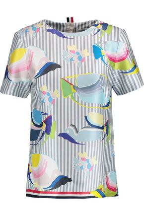 THOM BROWNE Printed silk-satin top