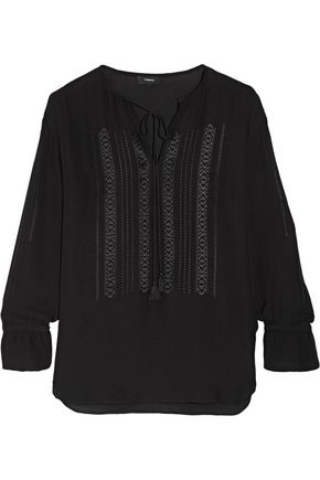 THEORY Alrik embroidered silk-chiffon blouse