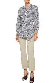 THEORY Margretha printed silk-georgette blouse