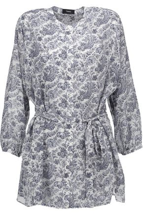 THEORY Margretha printed silk-georgette blouse