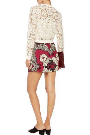VALENTINO Printed silk-chiffon shorts