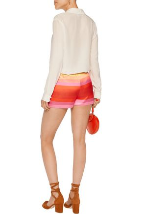 VALENTINO Striped crepe de chine shorts