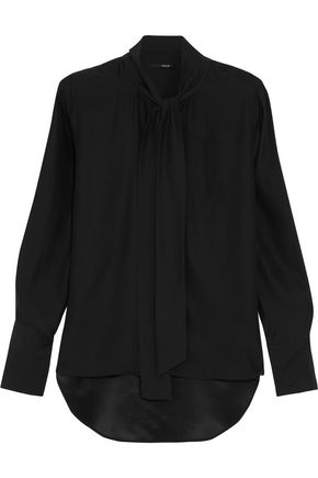 J BRAND Delorna pussy-bow silk blouse