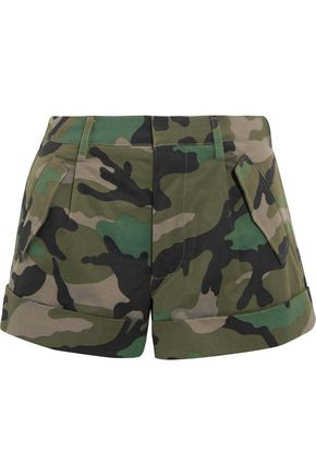 VALENTINO Camouflage-print cotton-twill shorts