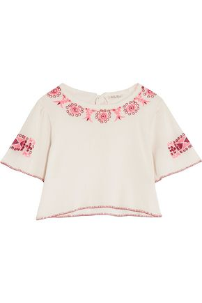 LOVESHACKFANCY Joni cropped embroidered cotton-gauze top