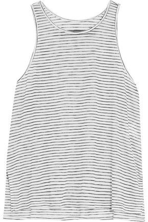 ENZA COSTA Striped stretch-knit tank