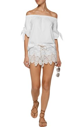 EBERJEY Castaway lace-up  broderie anglaise cotton shorts