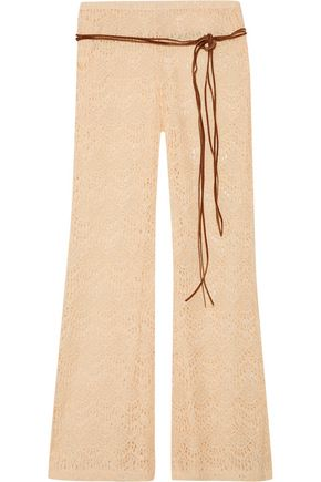 EBERJEY Free Spirit Margaux belted crocheted cotton-blend pants