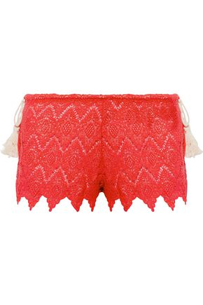 EBERJEY Dylan tasseled crocheted cotton shorts