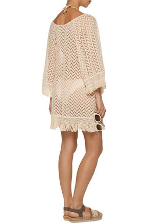 EBERJEY Libertine Giana fringed crochet-knit coverup