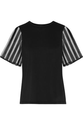 CLU Tulle-paneled cotton T-shirt