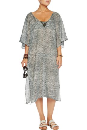 EBERJEY Nirvana printed cotton-voile coverup