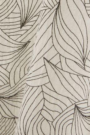 EBERJEY Sea Leaves Margaux cotton-gauze pants