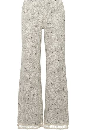 EBERJEY Sea Leaves Margaux cotton-gauze pants