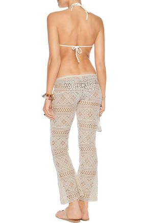 EBERJEY Beach Comber Marley crocheted cotton wide-leg pants