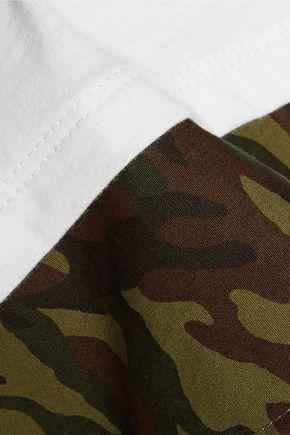 CLU Printed cotton poplin-paneled cotton-jersey top