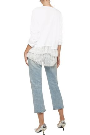 CLU Pleated point d'esprit-paneled cotton-jersey top