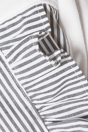 CLU Wrap-effect striped poplin-paneled cotton-blend terry sweatshirt