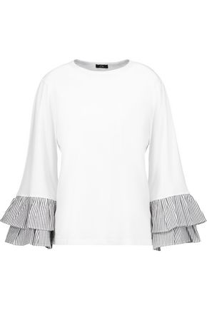 CLU Pleated striped cotton poplin-trimmed cotton-jersey top