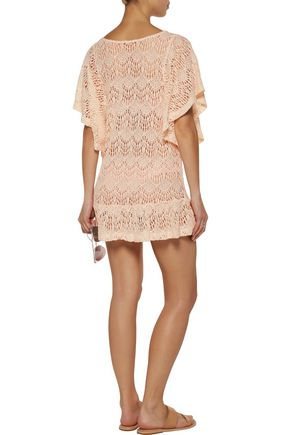 EBERJEY Free Spirit Malena ruffled crochet-knit cotton-blend coverup