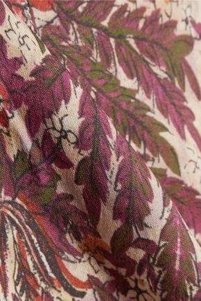 HAUTE HIPPIE Eyelet-embellished printed silk crepe de chine top