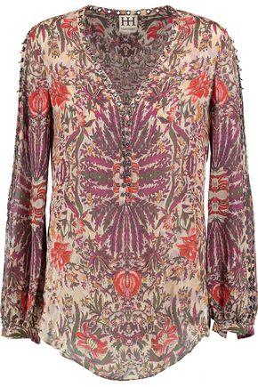 HAUTE HIPPIE Eyelet-embellished printed silk crepe de chine top