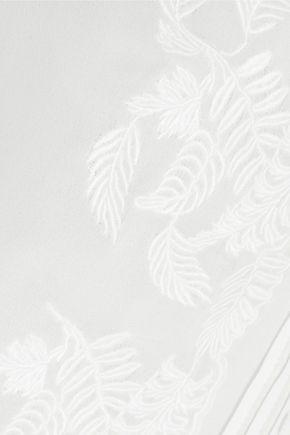 HAUTE HIPPIE Macramé lace-paneled silk-chiffon top