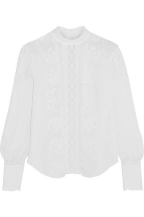 HAUTE HIPPIE Lace-paneled embroidered silk-chiffon top