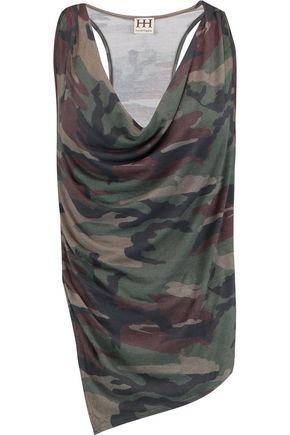 HAUTE HIPPIE Asymmetric draped printed modal-blend jersey tank