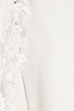 HAUTE HIPPIE Crochet-trimmed silk-chiffon blouse