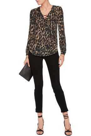 HAUTE HIPPIE Lace-up printed silk top