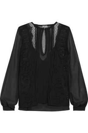 HAUTE HIPPIE The Lace Widow paneled lace-trimmed silk-chiffon blouse