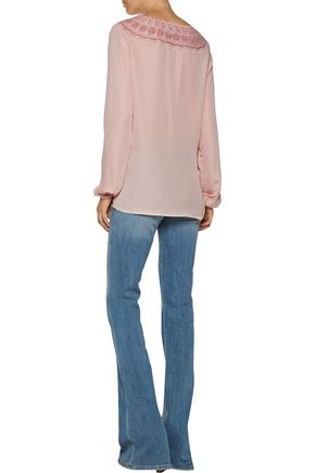 HAUTE HIPPIE Embroidered silk-chiffon blouse