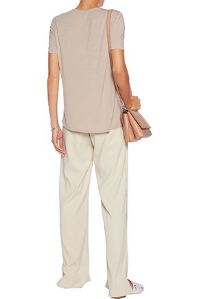 HALSTON HERITAGE Jersey and embroidered silk top