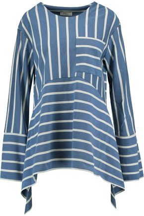 GOEN.J Draped striped cotton-blend top