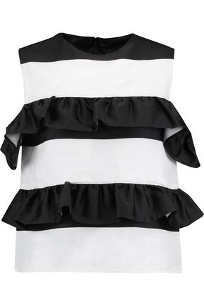 GOEN.J Ruffle-trimmed cold-shoulder striped satin and twill top
