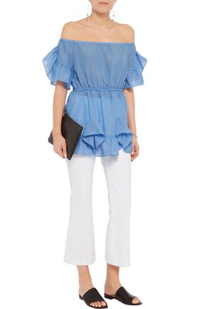 GOEN.J Off-the-shoulder ruffled voile top