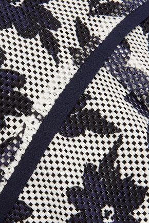 GOEN.J Asymmetric printed open-knit top