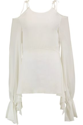 GOEN.J Cold-shoulder draped silk-crepe peplum top