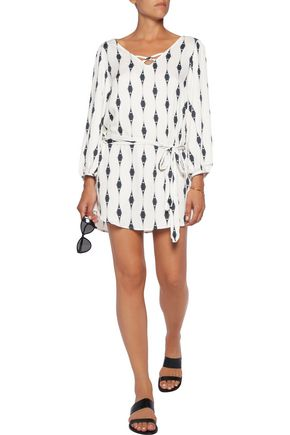 EBERJEY Voyeur Mika belted printed voile mini dress