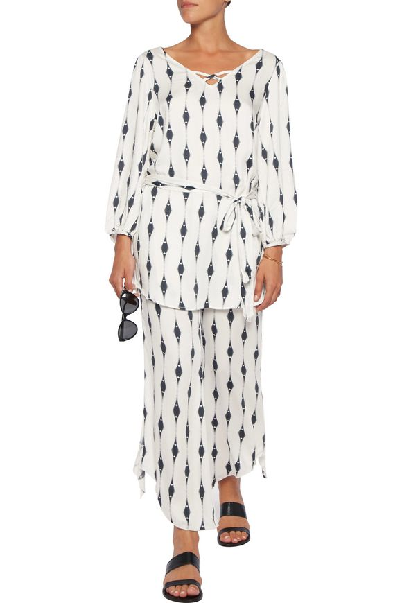 Voyeur Mika belted printed voile mini dress | EBERJEY | Sale up to 70% off  | THE OUTNET