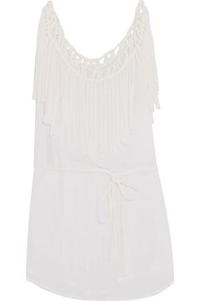 EBERJEY Ship Wrecked Rania fringed cotton-muslin coverup