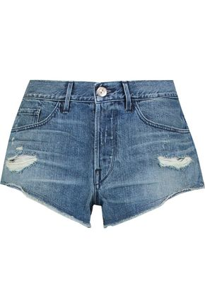 3x1 Distressed denim mini shorts