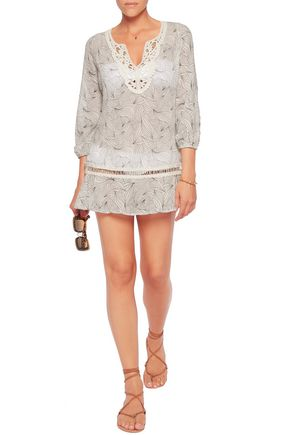 EBERJEY Sea Leaves Natalya macramé lace-paneled printed cotton coverup
