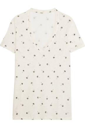 MONROW Printed slub linen T-shirt