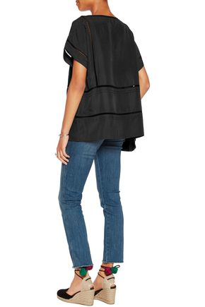 M.I.H JEANS Pointelle-trimmed washed-silk top