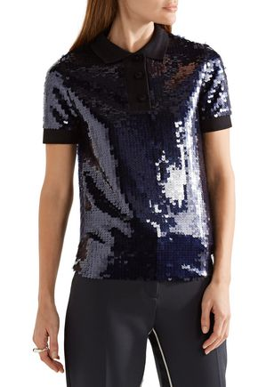 CARVEN Knit-trimmed embellished tulle polo shirt