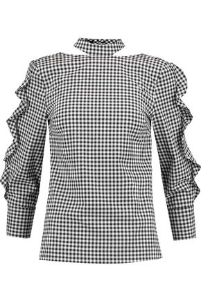 MARISSA WEBB Effy cutout gathered gingham twill blouse