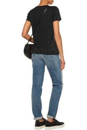 J BRAND Janis distressed printed stretch-jersey top