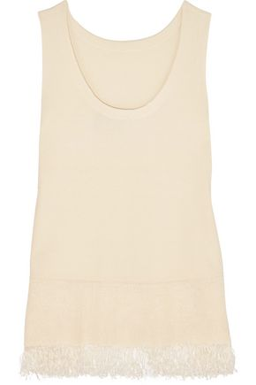 THEORY Vendla fringe-trimmed knitted tank